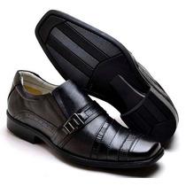 Sapato Social Masculino Forro Couro Sola Leve Moda Classica