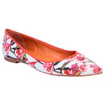 Sapato 39 Feminino Grife Le Lis Blanc Couro Tecido Sapatilha