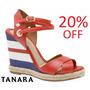 20% Off Sandália Anabela Espadrille Tanara Couro - N7665