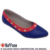 Sapatilha Bico Fino Azul Marinho/vermelho Com Spikes Dourado