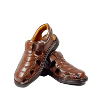 Sandalia Calçados Masculina Diabéticos Couro Antiestress