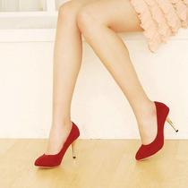 Sapato Alto De Camurça Vermelho