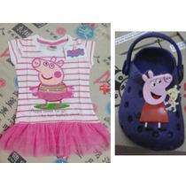 Sandália Crocs Peppa Pig E O Vestido Bordado Bailarina