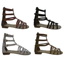 Sandálias Rasteiras Gladiadoras Alta Renda De Couro 533