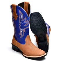 Bota Feminina Texana Country Couro 8095 Nobuck Rato-azul