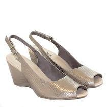Sapato Peep Toe Anabela Usaflex Chumbo Metalizado R2905