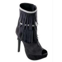 Ankle Boot Feminina Bota-preto - Com Franja E Strass Barato!