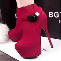 Lindo Sapato Bota Salto Alto Feminino Camurça Frete Gratis