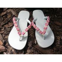 Havaianas Bordada Customizada Personalizada Em Pedraria