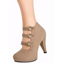 Sapato Alto Feminino Meia Pata Bota Cano Baixo