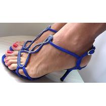 Sandália Azul Salto Alto Com Strass Da Werner Calçados