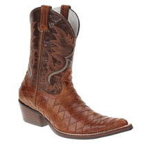 Bota Texana Masculina Escamada Havana Bico Fino West Country