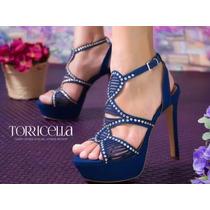 Sapato Salto Alto Azul Brilho Trançado Lindo Exclusivo