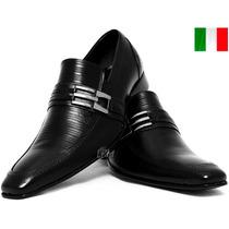 Sapato Bico Fino Social Lançamento Couro Estilo Italiano