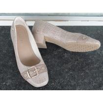 Sapato Scarpin Usaflex 100% Couro Salto 4cm Conforto-s650661
