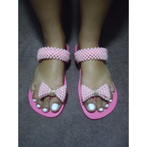 Sandálias Chinelos Havaianas Customizados Com Pérolas