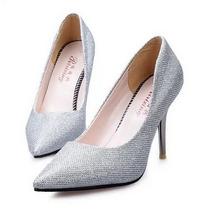 Sapato Feminino De Salto Alto Scarpin Faux Couro Glitter