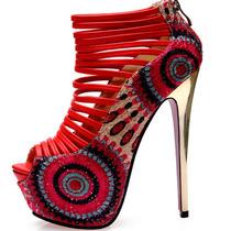 Sapato Sandalia Salto Fino Grosso Meia Pata Mulher Louboutin