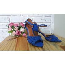 Linda Sandália Azul Salto Quadrado Em Couro N°33