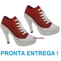 Tenis Bota Feminina Sneaker Salto Alto 34 35 36 37 38 39