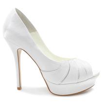 Sapato De Noiva Laura Porto Peep Toe Mt 9498 Branco   Zariff