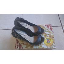 Sapato Bottero Peep Toe De Couro Preto Salto 12cm