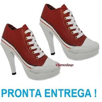 Bota Cano Sneaker Tenis Salto Preto Plataforma Vermelho Pata