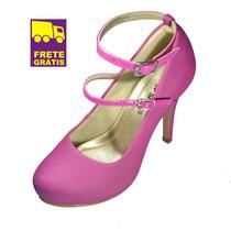 Sapato Scarpin Rosa Noivas Confortável!up Shoes 10 Cm!lindo!