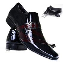 Lançamento Sapato Mais Cinto Verniz Social Masculino Couro!!