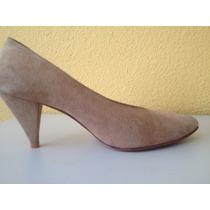 Sapato De Couro Camurça Bege Modelo Scarpin