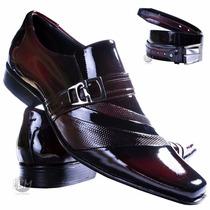 Sapato Social De Verniz Masculino + Cinto Verniz Vinho- Lbm