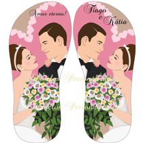 Kit 20 Sandálias Personalizadas Casamento Frete Grátis