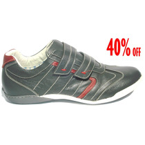 40% Off Sapatênis Spaçus Velcro Couro Legítimo Chumbo 10620