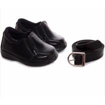 Sapato Social Infantil Masculino Ref 584 Com Brinde Cinto