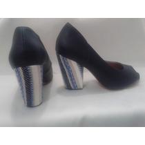 Sapato De Salto Alto Feminino Peep Toe Salto Grosso Azul
