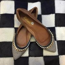 Sapatilha Decorada Prata Pret Leluel Shoes Inspiração Arezzo