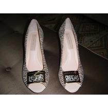 Sapato Salto Medio Dourado Com Strass
