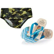Promoção: Kit Infantil Chinelo Havaianas +sunga Hering/puc