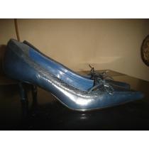Scarpin Azul Escuro, Laço,couro,bico Fino,gromer,tam 35