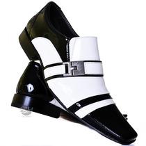 Sapato Social Masculino Em Couro Verniz Preto E Branco Luxo