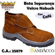 Bota Botina Segurança Andacoo Velcro Nobuck Marrom Café