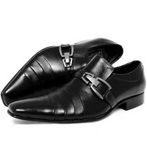 Sapato Social Masculino Preto Com Fivela- 100% Couro- Franca