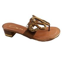 Tamanco Camilly Couro Iguana Bronze Dourado 71005 - Cy06