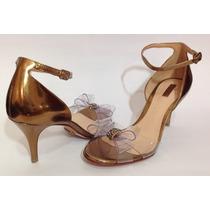 Sandália Schutz Salto Médio Bronze Laço - Promoção