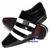 Sapato De Casamento Social Preto Com Branco 100% Legítimo