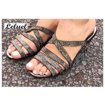 Rasteirinha Baixa Pedra Preta Leluel Shoes Inspiração Arezzo
