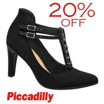 20% Off Sapato Piccadilly Scarpin Preto Conforto 722013
