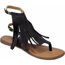 Sandália Rasteira Franja - Véria Calçados
