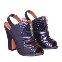 Sandália De Salto Azul Metalizado - Vicenza