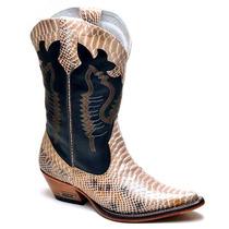Bota Masculina Cano Alto Country Texana - Couro Anaconda